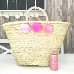Großer Pom Pom Korb pink ombre