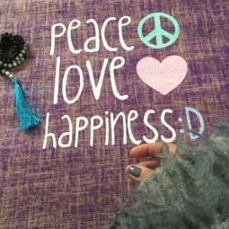 Herzteil Jute Yogamatte PEACE LOVE HAPPINESS