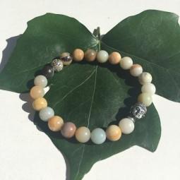 Be Happy - Amazonit Silver Buddha Armband