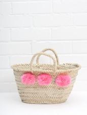 Herzteil - kleiner Pom Pom Korb rosa