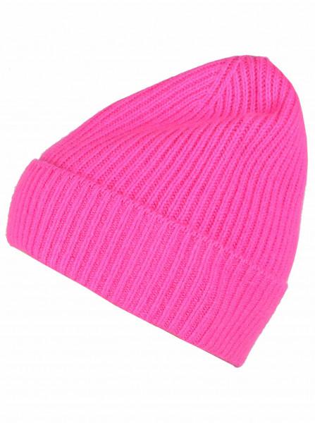 100% cashmere - Mütze neon pink