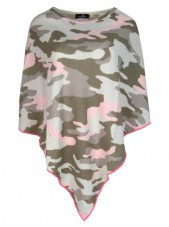 Camouflage Poncho mit Cashmere - Sale