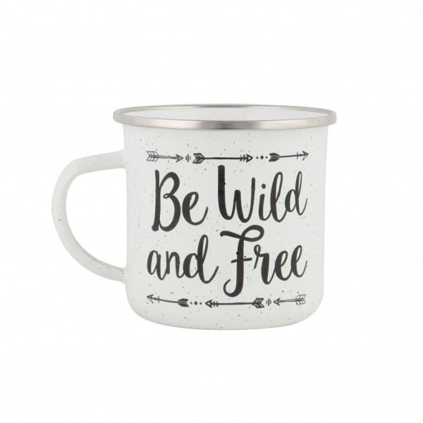 Mein Lieblingsmotto : Be Wild & Free Emaille Becher