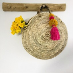 Fang den Frühling - runde Korbtasche