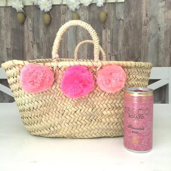 Mini Pom Pom Korb pink ombre