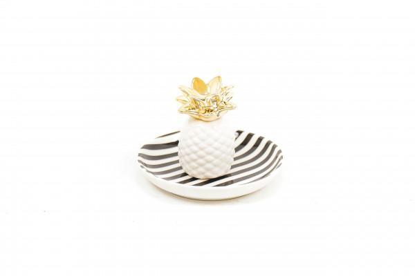 Keramikteller Ananas - schwarz/weiß