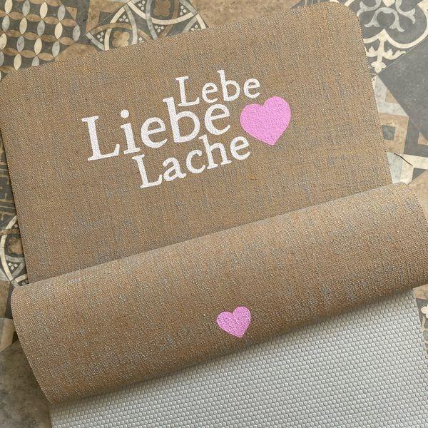 ♥ Lebe, Liebe, Lache ♥ Herzteil Yogamatte