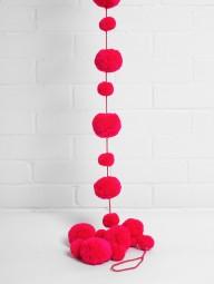 Dekorative Pom Pom Girlande 100% Wolle pink