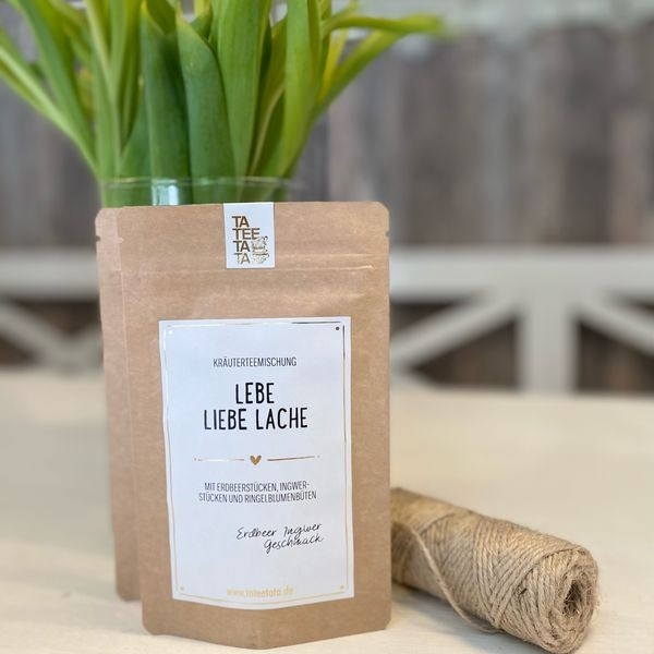"""Geschenkidee - der Bio Tee """"Lebe, Liebe, Lache"""""""