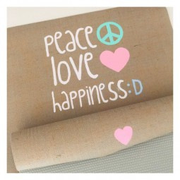 PEACE LOVE HAPPINESS Jute Yogamatte